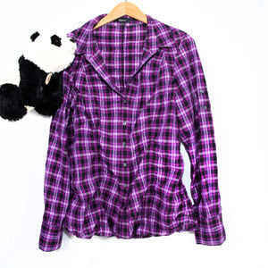 Purple, black Express plaid button down